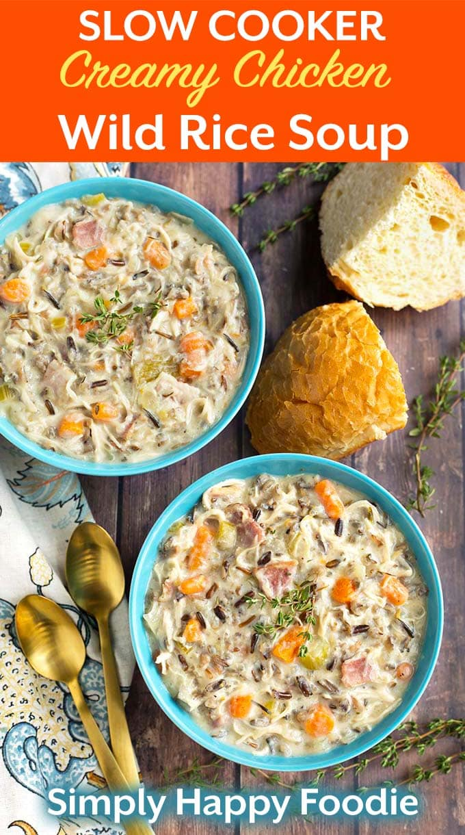Crock Pot Creamy Chicken Wild Rice Soup is delicious, thick, rich, and easy to make! Slow cooker creamy chicken wild rice soup is a hearty soup that is perfect for a cold day. My family loves this wild rice soup recipe! simplyhappyfoodie.com #wildricesoup #crockpotchickenwildricesoup #slowcookerwildricesoup