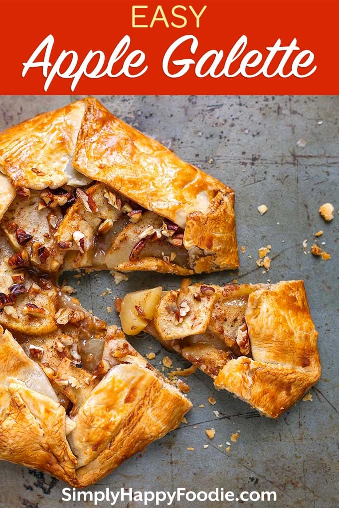 This Easy Apple Galette recipe is really an apple pie without the pie pan! This Apple Galette, or Crostata, is a rustic apple pie dessert that is really easy and fast to make. A premade pie crust is a great shortcut to make this wonderful apple galette - Apple crostata recipe simplyhappyfoodie.com #applegalette #galette
