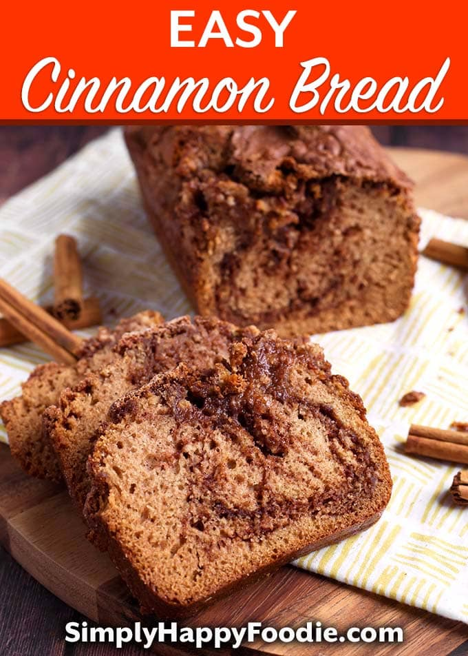 Nana's Easy Cinnamon Bread is a lovely quick bread that uses simple ingredients, including warm cinnamon to flavor it. This Cinnamon Bread recipe is an old one, and tastes so good! I'm happy to share it with you. simplyhappyfoodie.com #cinnamonbread #quickbreadrecipe