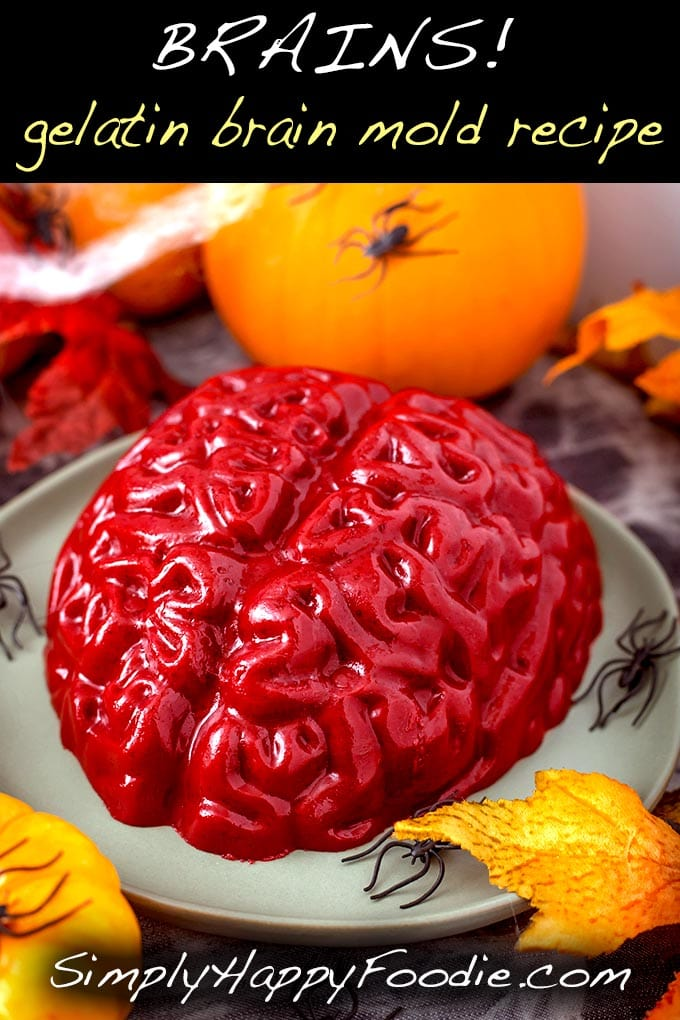 This Halloween Jello Brain Recipe for a brain mold makes a creepy gelatin brain that you can take to a Halloween party, or anywhere a jello brain would be appropriate. The Zombie Apocalypse comes to mind... And Halloween of course! simplyhappyfoodie.com #halloween #gelatinbrain