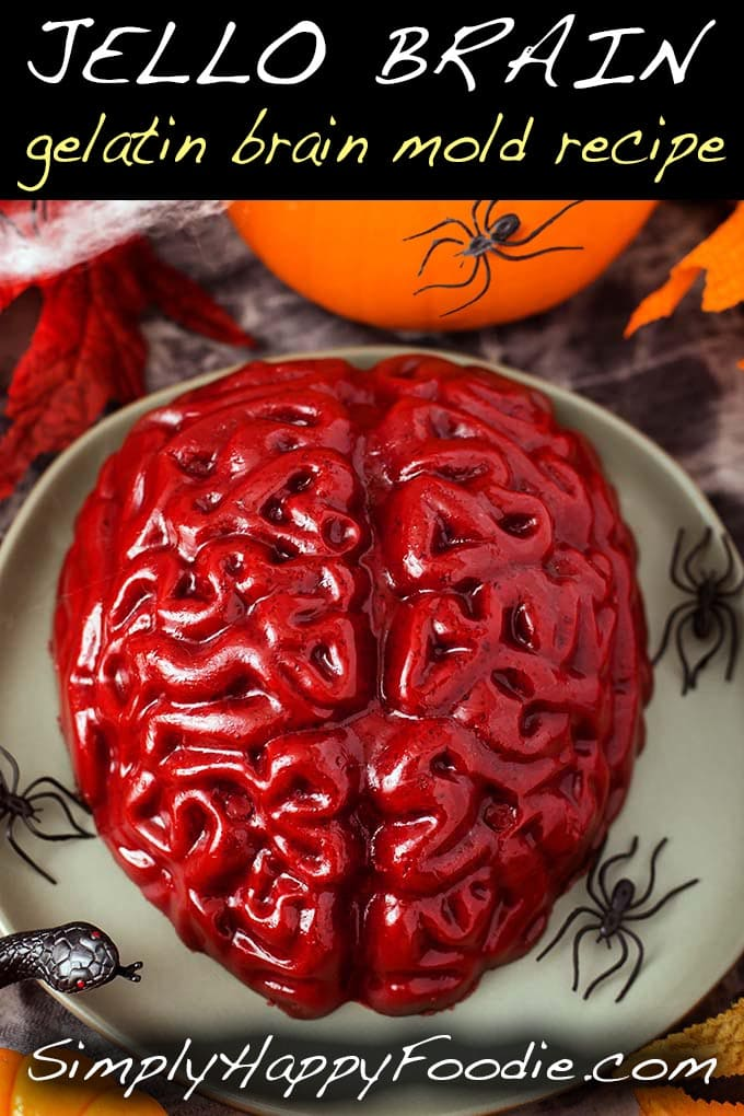 This Halloween Jello Brain Recipe for a brain mold makes a creepy gelatin brain that you can take to a Halloween party, or wherever a jello brain would be needed. The Zombie Apocalypse comes to mind... Halloween jello brain recipe by simplyhappyfoodie.com #halloween #jellobrain