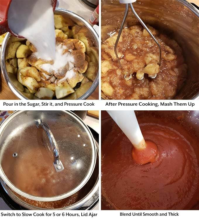 Four process images showing the addition of the sugar, mashing after pressure cooking, slow cooking, and blending until smooth