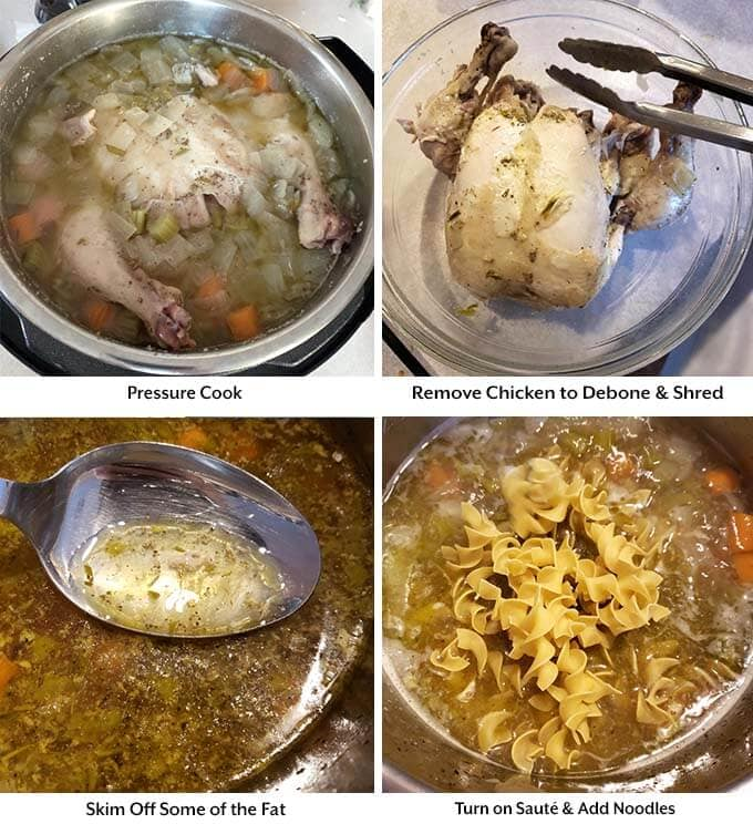 Four process images showing pressure cooking and debone of the chicken before skimming off the fat and adding the noodles