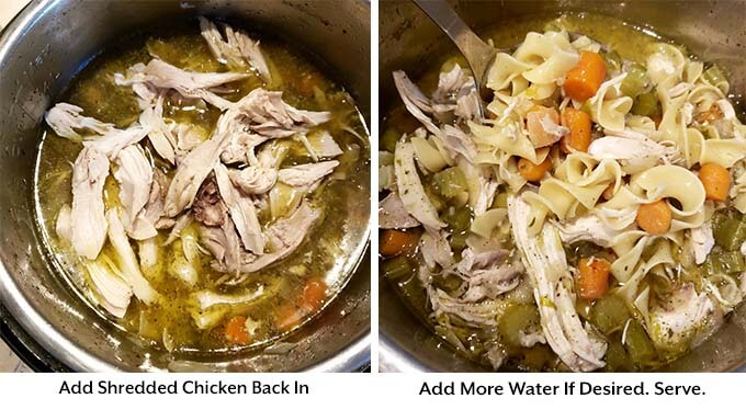 Two process images showing the addition of chicken and water into the pressure cooker