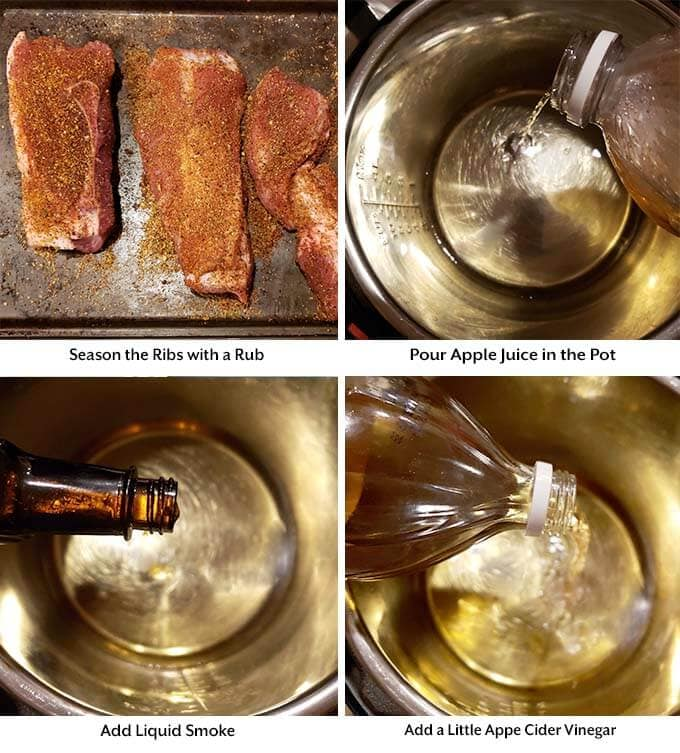 Four process images showing the seasoning of the ribs, pouring the apple juice, liquid smoke, and apple cider vinegar into the pressure cooker pot