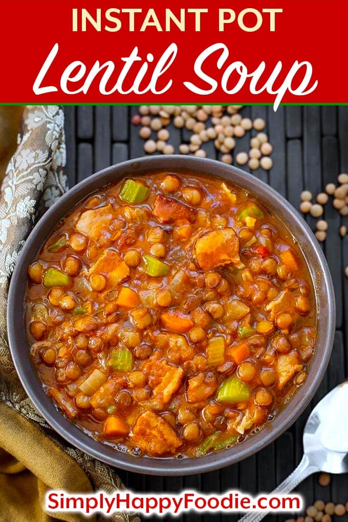 Instant Pot Lentil Soup is a rich, healthy, and delicious medley of brown lentils, carrots, celery, spices, and bacon. Can also easily be vegetarian lentil soup. This pressure cooker lentil soup is hearty without being heavy. A very popular Instant Pot soup recipe. Instant Pot recipes by simplyhappyfoodie.com #instantpotlentilsoup #pressurecookerlentilsoup