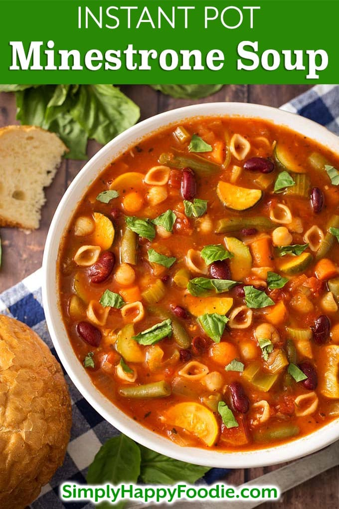 Instant Pot Minestrone Soup is a classic Italian soup loaded with vegetables, beans, pasta, and lots of flavor! When you make this healthy pressure cooker minestrone soup, use the veggies you have! This is a versatile and delicious Instant Pot soup recipe! Instant Pot Recipes by simplyhappyfoodie.com #instantpotminestrone #instantpotsoup #pressurecookerminestronesoup #pressurecookersouprecipe