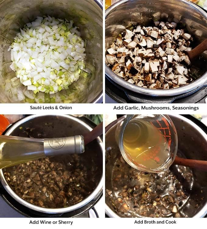 Four images showing the process of sauteing leeks and onions, then and adding the garlic, mushrooms, and seasoings before adding the whie and then adding the broth to make Mushroom Soup