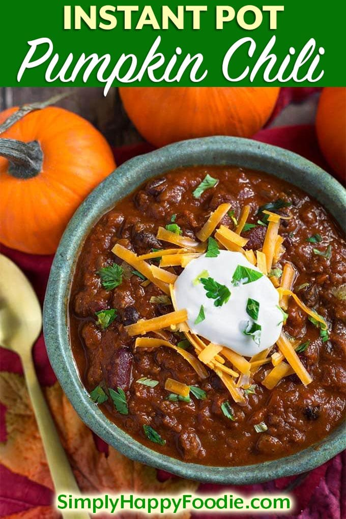 Instant Pot Pumpkin Chili is a delicious Fall comfort food. A hearty chili that isn't too heavy, with the addition of creamy, healthy pumpkin puree. Pressure cooker pumpkin chili is very flavorful and so satisfying! simplyhappyfoodie.com #instantpotrecipes #instantpotpumpkinchili #instantpotchili #pressurecookerchili