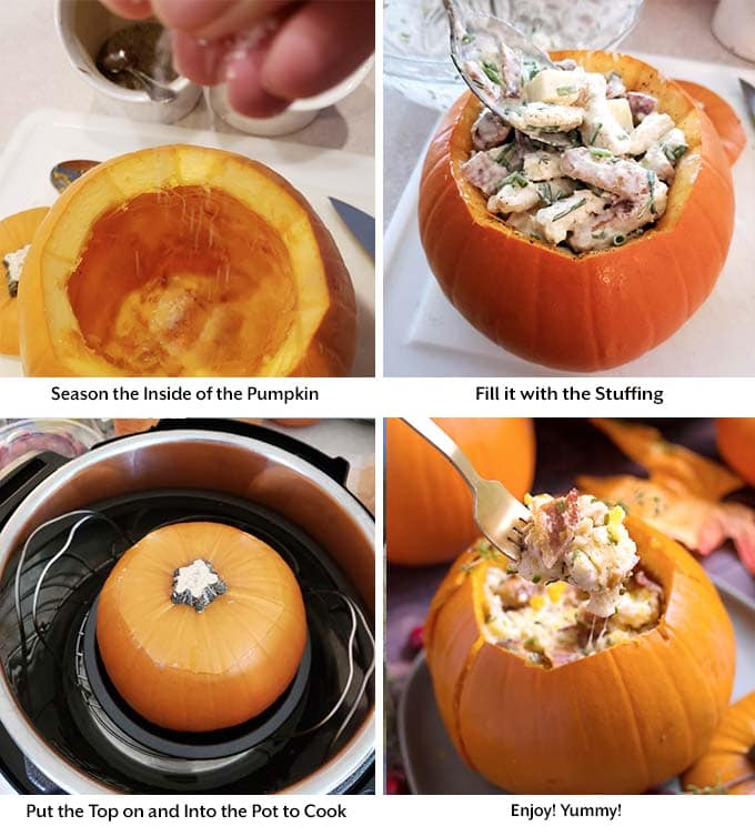 Instant Pot Stuffed Pumpkin is so delicious! This is a Fall recipe that can be a main dish or a side dish. A pumpkin stuffed with a savory and creamy stuffing that you can change up to make it your own! This pressure cooker stuffed pumpkin is as beautiful as it is scrumptious! simplyhappyfoodie.com #instantpotstuffedpumpkin #instantpotpumpkin #instantpotthanksgiving #pressurecookerpumpkin