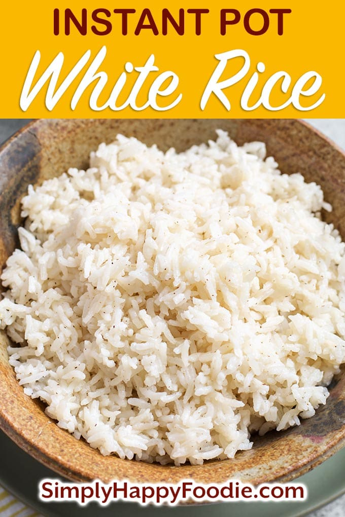 Instant Pot White Rice is an easy way to cook a batch of long grain white rice. You can control how done it gets, and this is a method of making rice that is fairly hands-off. Pressure cooker rice is also a good base for other recipes, so make a big batch to have on hand! Instant Pot recipes by simplyhappyfoodie.com #instantpotrice #instantpotwhiterice