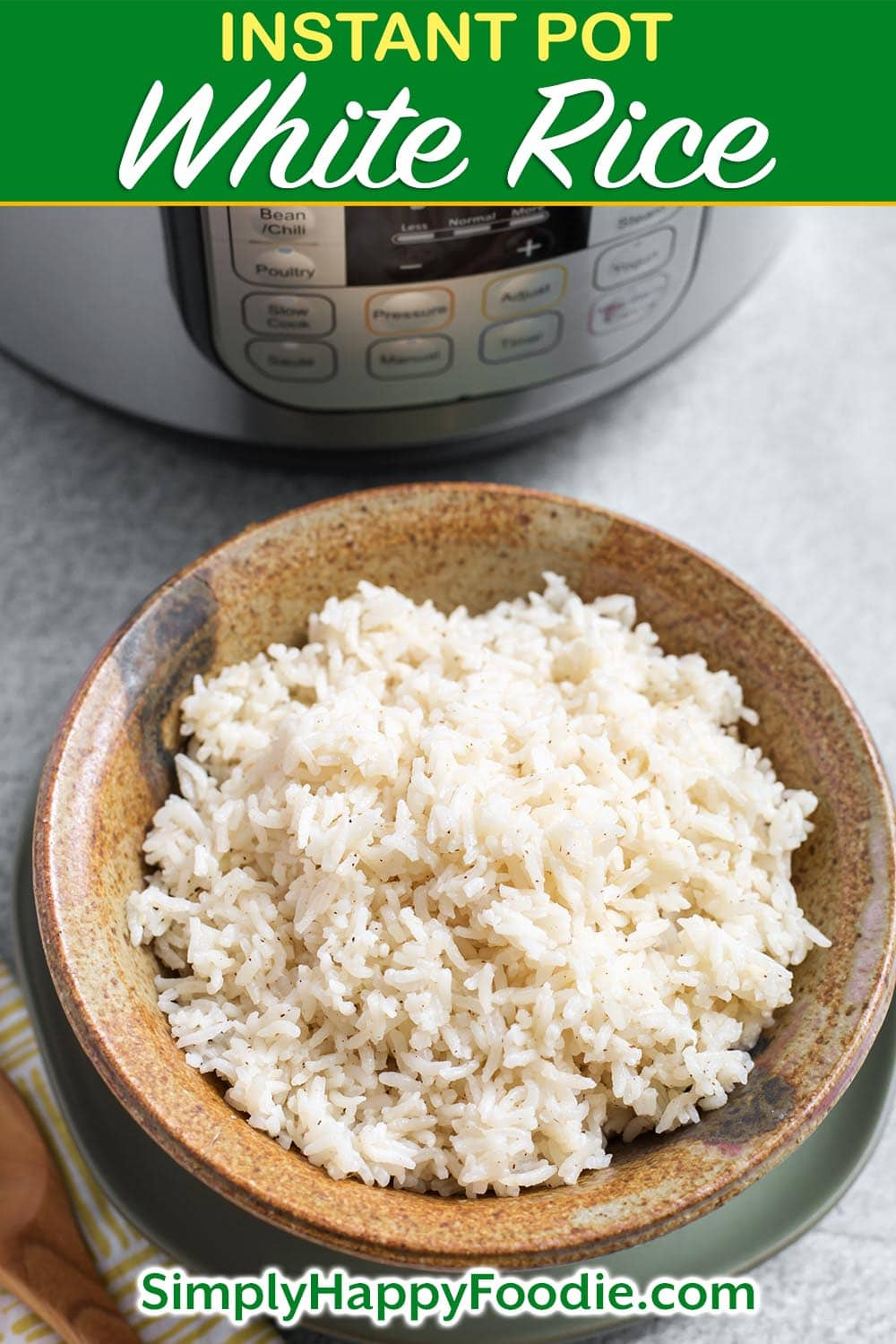 Instant Pot White Rice is an easy way to cook a pot of long grain white rice. You can control how done it gets, and this method of making rice is fairly hands-off. Pressure cooker rice is a good base for other recipes, so you can make a big batch to have on hand! Easy Instant Pot recipes by simplyhappyfoodie.com #instantpotrice #instantpotwhiterice