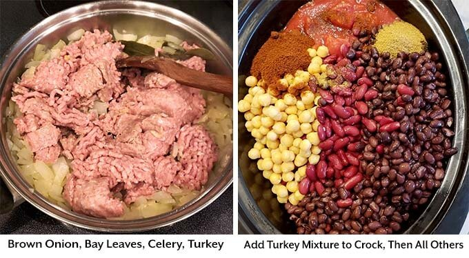 two process images showing the combining of the onion, adding bay leaves, celery, and turkey in a metal mixing bowl, then adding everything into the slow cooker