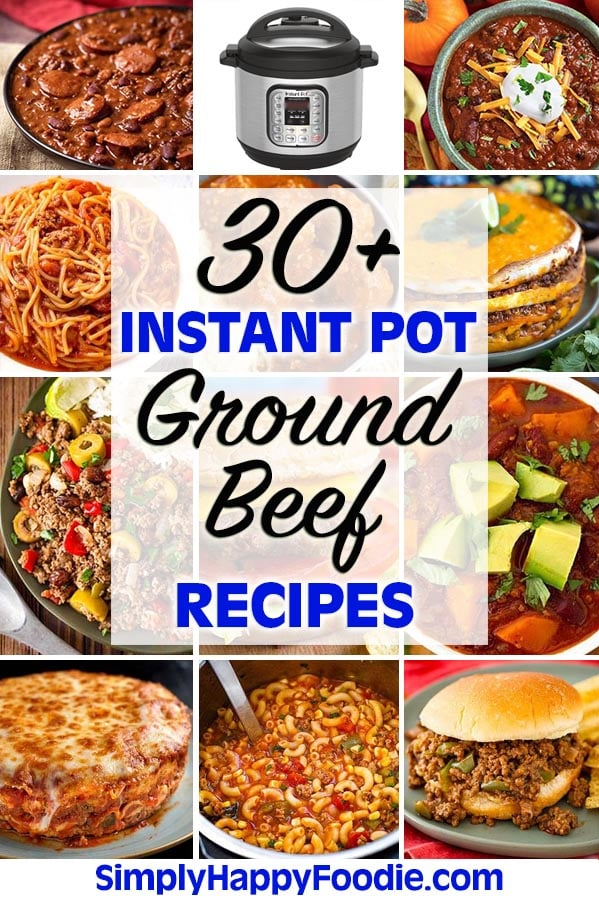 A collection of over 30 delicious and easy to make Instant Pot Ground Beef Recipes. These pressure cooker ground beef recipes will help you decide what to do with that pound of hamburger! Instant Pot recipes and Instant Pot ground turkey recipes by simplyhappyfoodie.com #instantpotgroundbeefrecipes #instantpothamburger #pressurecookergroundbeef