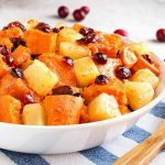 Instant Pot Sweet Potato Cranberry Casserole also has pineapple and some warm spices to make this a yummy Fall side dish. It's so fast to make, you will have a wonderful side on the table in 30 minutes or less! Pressure cooker sweet potatoes with cranberries is a tasty addition to tour Holiday meal. A great Instant Pot Thanksgiving side dish recipe! simplyhappyfoodie.com #instantpotswetpotatoes #instantpotthanksgiving