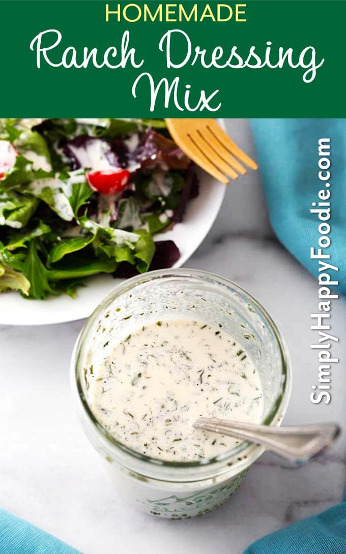 Homemade Ranch Dressing Mix is very easy to make from spices you may already have in your pantry. This ranch seasoning mix has all of the great ranch flavor, and you can control the salt! Use this homemade ranch dressing mix recipe for pot roast, salad dressing, dip, an in many other tasty recipes! simplyhappyfoodie.com #homemaderanchdressingmix #homemaderanchseasoningmix