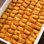 Hotdish Tater Tot Casserole in a white baking dish