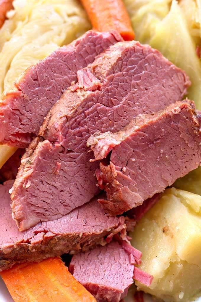 Close up of Corned Beef Cabbage
