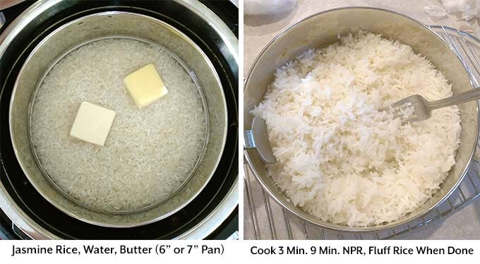 Two process images showing the preparation of the rice in a separate pan to add into the pressure cooker