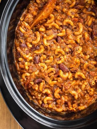 Chili Mac in a slow cooker