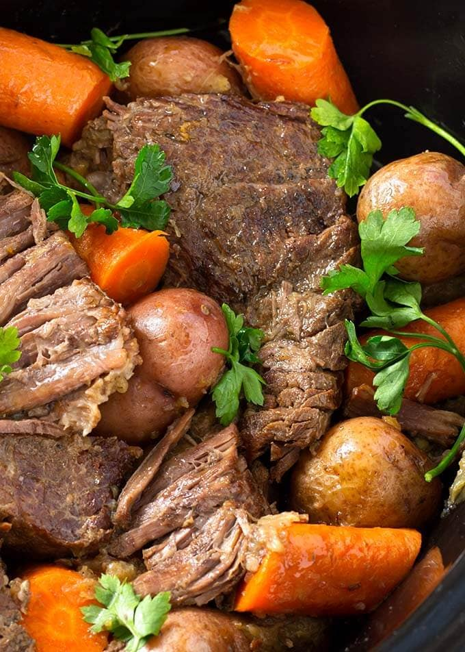 Closeup of Pot Roast with vegetables