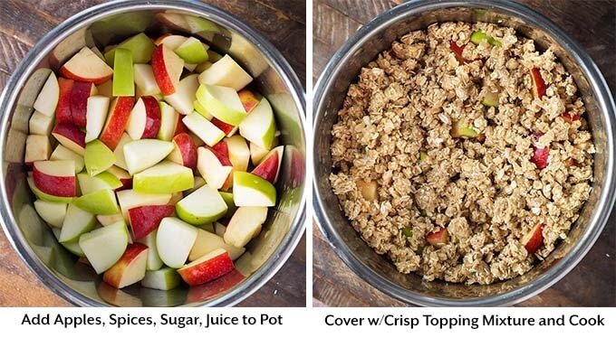 two images showing chopped apples then covered with topping mixture both in pressure cooker pots
