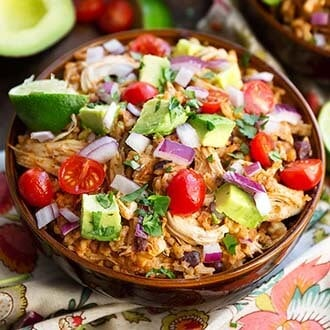 instant pot chicken taco bowl in a brown bowl