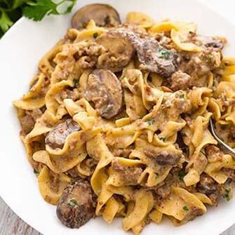 hamburger stroganoff on a white plate