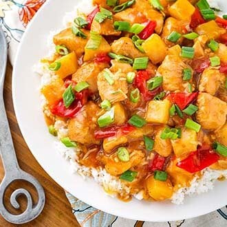 instant pot hawaiian chicken over rice on white plate