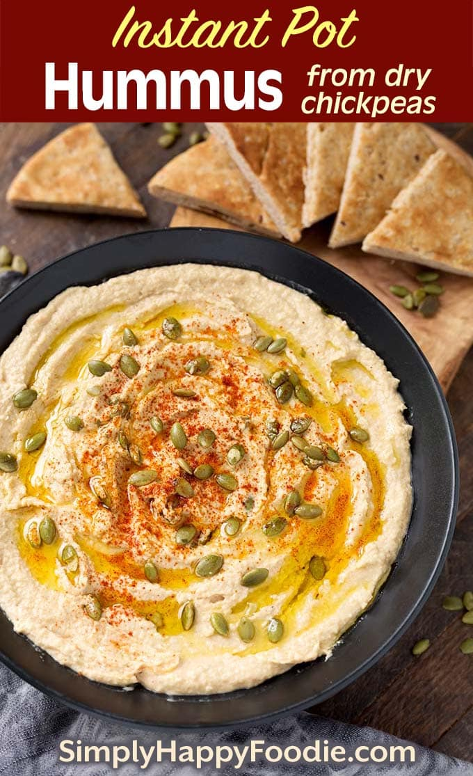 Instant Pot Hummus in black bowl as well as the title and Simply Happy Foodie.com logo