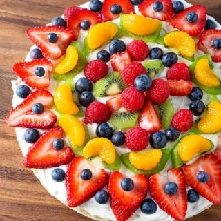 Fresh Fruit Pizza on wooden board