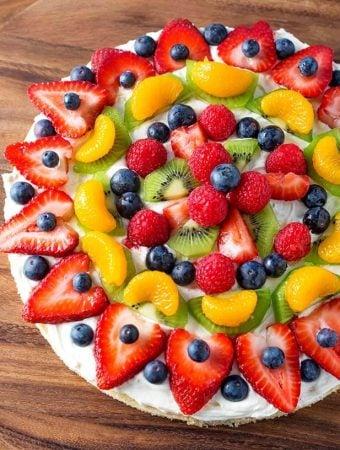 Fresh Fruit Pizza on wooden board