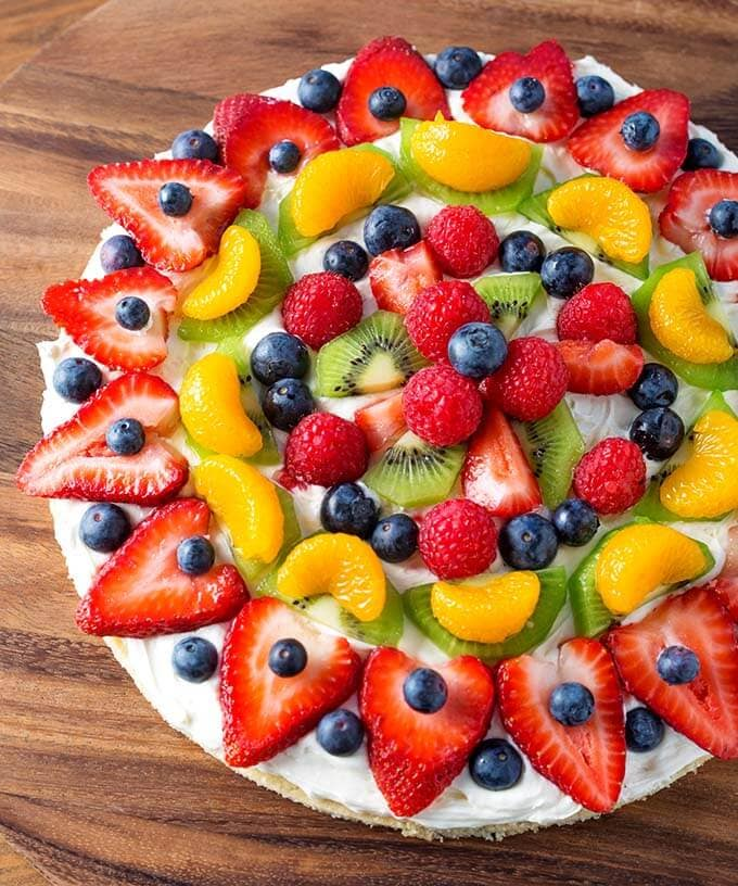 Fresh Fruit Pizza on a wooden surface