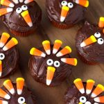 Several Candy Corn Turkey Thanksgiving Cupcakes