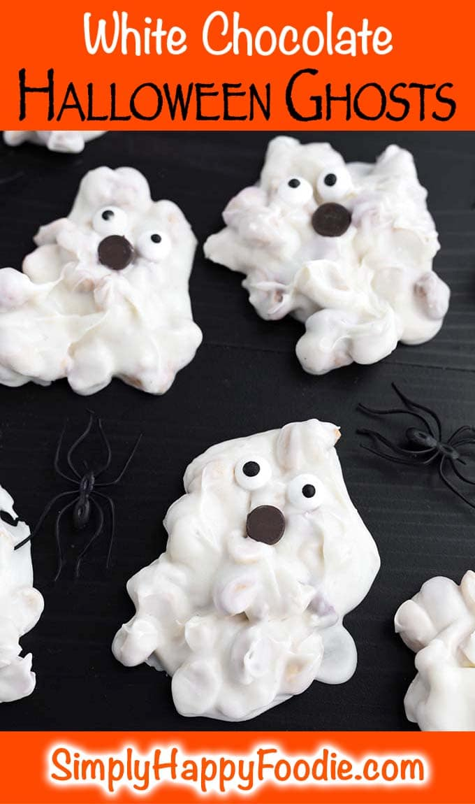 White Chocolate Halloween Ghosts with title and Simply Happy Foodie's logo