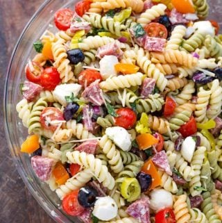 Italian Pasta Salad in a glass bowl
