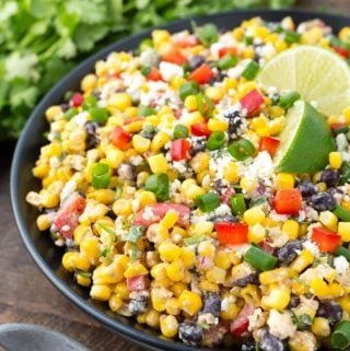 Mexican Street Corn Salad on a black plate