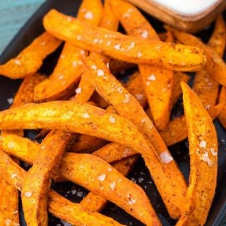 Air Fryer Sweet Potato Fries on black plate