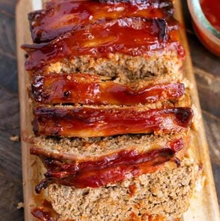 Sliced Air Fryer Turkey Meatloaf on wooden board