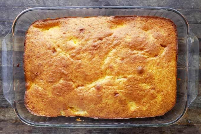 cooked caked in a glass baking dish