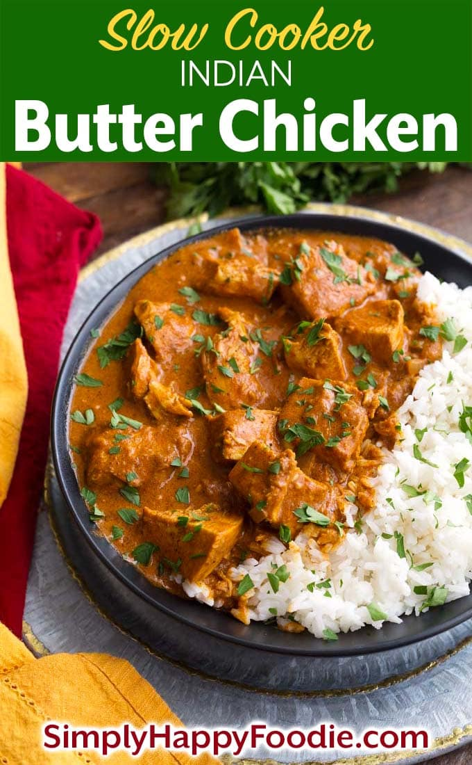 Slow Cooker Indian Butter Chicken with rice on black plate