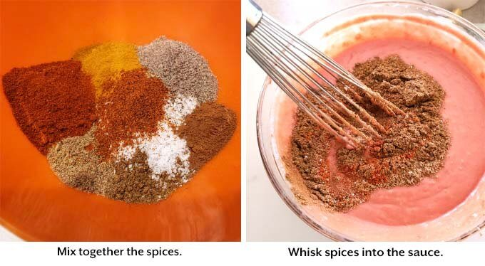 two images showing the whisking together of spices and sauce