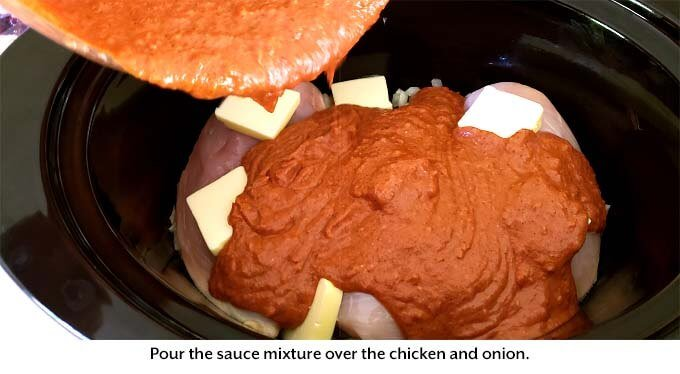 Pouring sauce over chicken in slow cooker