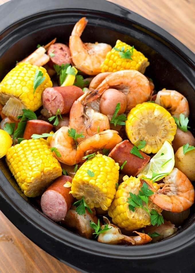 Close up of Shrimp Boil in Slow Cooker