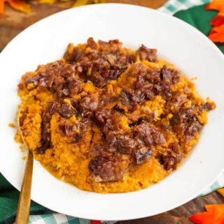 Slow Cooker Creamy Sweet Potatoes in a white bowl