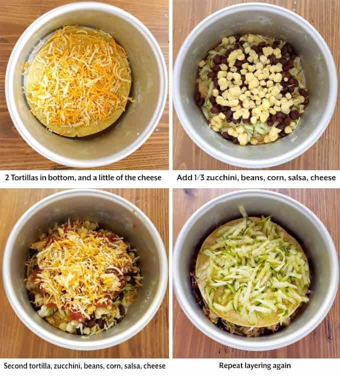 Four images showing layering of ingredients for Veggie Tortilla Pie in pressure cooker pot