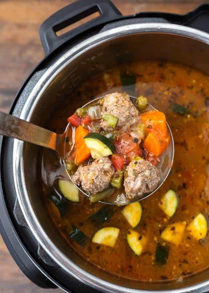 A ladle full of Albondigas Soup
