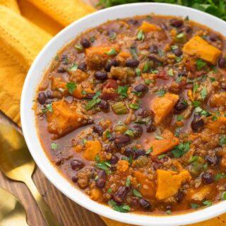Instant Pot Sweet Potato Quinoa Chicken Chili