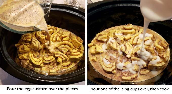 two images showing addition of custard and icing to make crock pot Cinnamon Roll