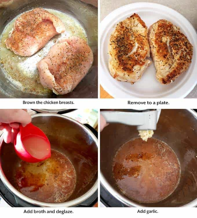 four images showing how to cook chicken and sauce for pressure cooker Cajun Chicken Breasts